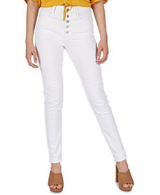 High-Rise Exposed-Button Skinny Jeans