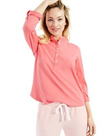 Cotton Cuffed-Sleeve Henley Top, Created for Macy'