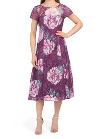 Floral Printed Sequin And Lace Dress