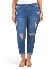 Plus High Rise Roll Cuff Jeans With Destruction