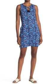 Tommy Bahama Woodblock Tie Neck Floral Dress