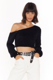 Nasty Gal Black Fluffy Cropped Off the Shoulder To