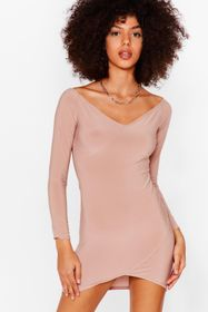 Nasty Gal Rose Wide V Neck Bodycon Mini Dress