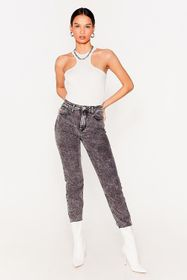 Nasty Gal Grey Acid High Waisted Tapered Jeans