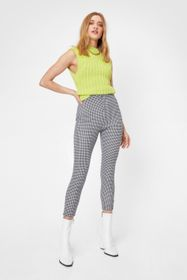 Nasty Gal Black Houndstooth High Waisted Cropped L