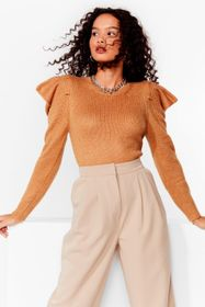 Nasty Gal Camel Knitted Ruffle Puff Sleeve Sweater