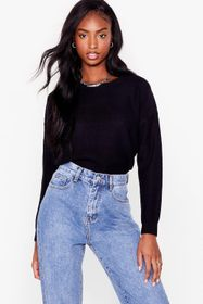 Nasty Gal Black Knitted Crew Neck Long Sleeve Swea