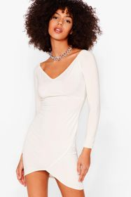 Nasty Gal Cream Wide V Neck Bodycon Mini Dress