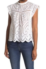 7 For All Mankind Eyelet Lace Mock Neck Top