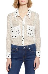 7 For All Mankind Combo Print Silk Blouse