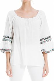 Max Studio Embroidered Woven Top