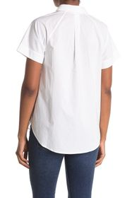 7 For All Mankind Spread Collar Cap Sleeve Button