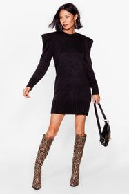 Nasty Gal Black Pointed Shoulder Pad Knitted Mini