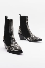 Nasty Gal Black Western Studded Chelsea Boots
