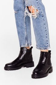 Nasty Gal Black Faux Leather Pin Stud Ankle Boots