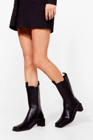Nasty Gal Black Square Toe Calf High Chelsea Boots