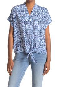 Tommy Bahama Tanli Tiles Tie Front Silk Blouse