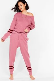 Nasty Gal Pink Knitted Stripe Sweater And Joggers