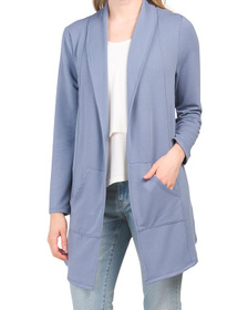 Drape Front Knit Cardigan With Pockets