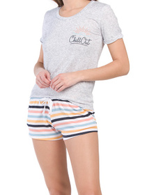 Chill Out Hacci Screen Print Shorty Pajama Set