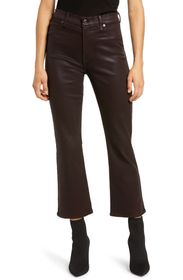 7 For All Mankind Coated High Waist Crop Flare Jea