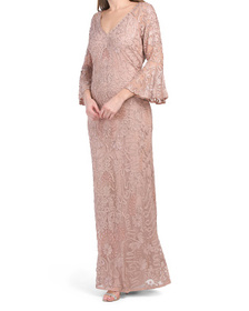 Beaded Soutache Embroidered Gown