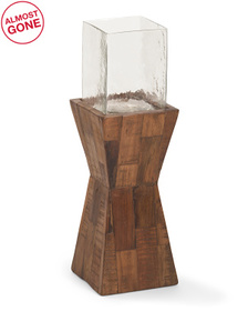 24.5in Glass Hurricane On Dimensional Wooden Stand