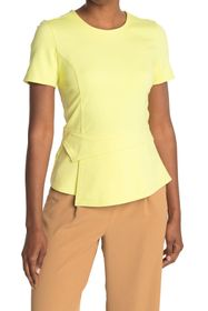 BCBGMAXAZRIA Crew Neck Short Sleeve Peplum Knit To