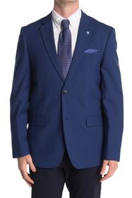 Ben Sherman Blue Solid Two Button Notch Lapel Unio