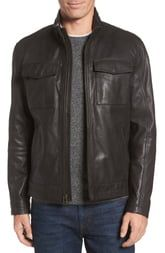 Cole Haan Leather Trucker Jacket