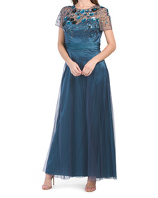 3d Leaf Embroidered Gown