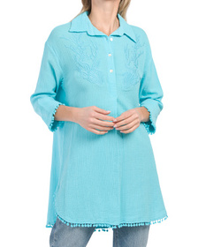 Uv Protected Embroidered Tunic Cover-up
