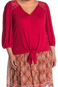 Max Studio 3/4 Sleeve Knot Front Top