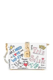 Dolce & Gabbana Printed Text Convertible Clutch