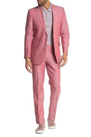 Tommy Hilfiger Salmon Solid Two Button Notch Lapel