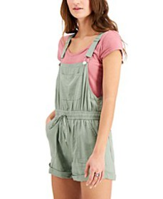Juniors' Drawstring-Waist Shortalls