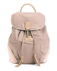 Nylon Pompon Backpack With Leather Trim
