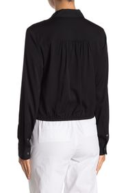 Theory Tie Front Silk Blend Blouse