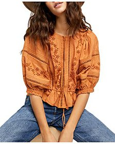 Free People - Daisy Chains Eyelet Peasant Crop Top