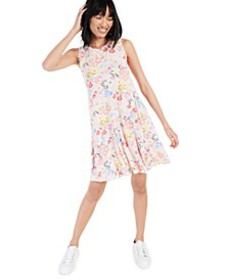 Floral-Printed Sleeveless Knit Dress, Created for