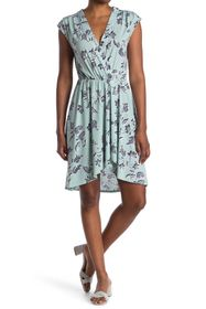 BCBGMAXAZRIA Printed Faux Wrap Dress