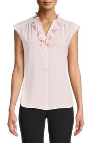 Anne Klein Ruffle Split Neck Button Down Blouse