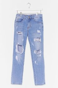 Nasty Gal Blue Distressed Slouchy Jeans