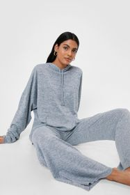 Nasty Gal Grey marl Splitting Our Time Hoodie and