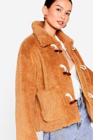 Nasty Gal Camel Hot Under the Collar Faux Fur Togg