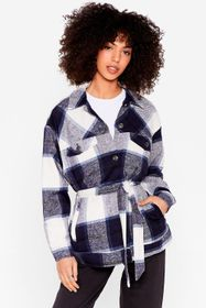 Nasty Gal Blue Check Belted Button Down Jacket