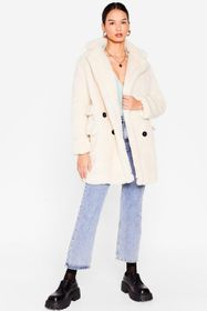 Nasty Gal Cream Faux Fur Relaxed Longline Coat