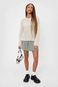 Nasty Gal Beige We're Keeping Knit Quick Fluffy Re