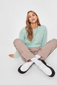 Nasty Gal Mint We're Keeping Knit Quick Fluffy Rel