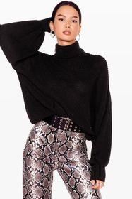 Nasty Gal Black Let's Roll Knitted Balloon Sleeve